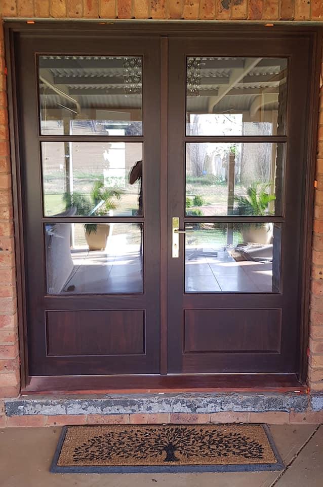 dark timber french doors